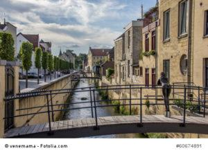 Canal and bridge in the center of Valkenburg