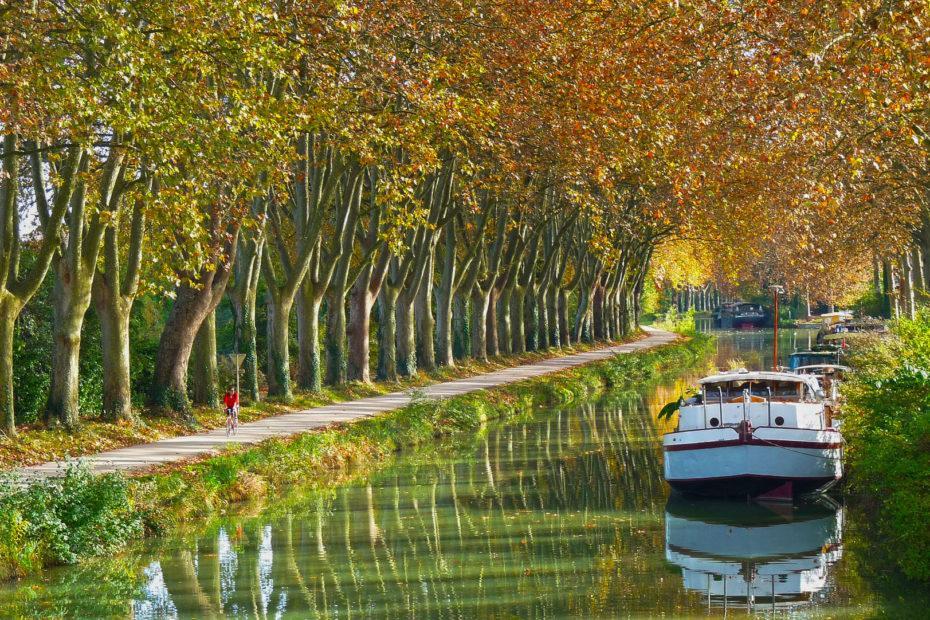 Hausboot auf dem Canal du Midi, Südfrankreich