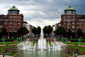 Springbrunnen am Friedrichsplatz in Mannheim