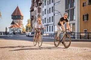 Konstanz, Rheinsteig, Rheintorturm, Fahrradtour am Bodensee