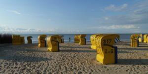 Cuxhaven, Strandkörbe am Sandstrand